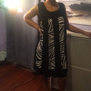 Zebra print black and white dress